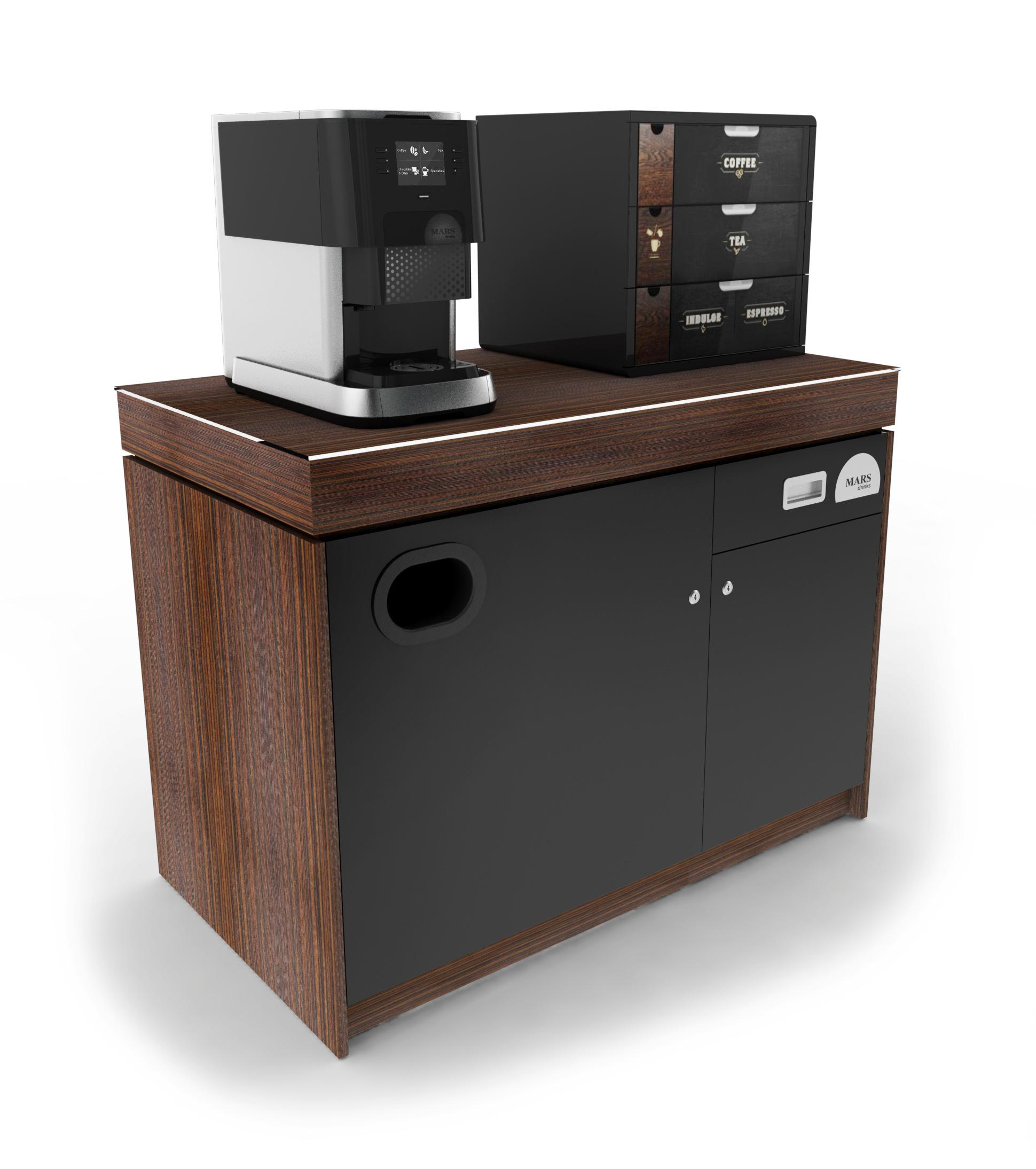 FLAVIA C500 on Base Cabinet with Merchandiser