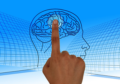 Finger pointing to brain