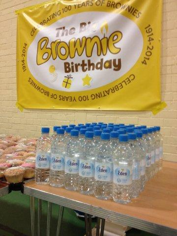 big brownie birthday 100 party with water from Eden Springs